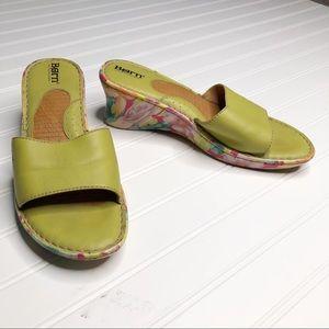 Born green floral wedge heal slide sandal